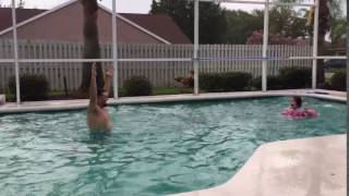 Father Throws Daughter Through Pool Donut