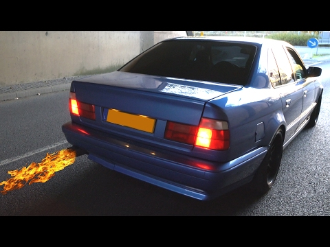 BMW M5 E34 3.8 straight pipe FLAMES