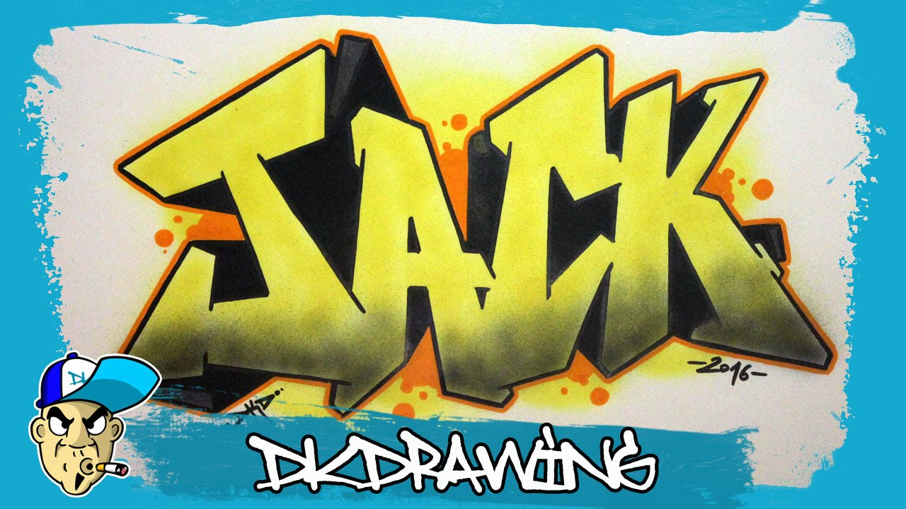 How to draw graffiti names jack 19 youtube
