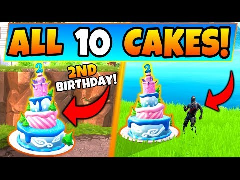 Fortnite BIRTHDAY CAKE LOCATIONS/BIRTHDAY CHALLENGES: Dance In Front Of Different Birthday Cakes