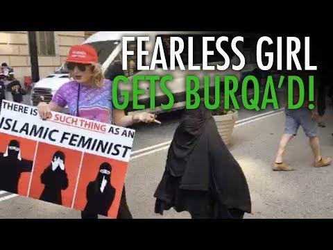 Raw: Fearless Girl meets fearless Laura Loomer. Gets burqa'd