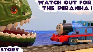 Thomas & Friends Toy Trains with Spiderman & Iron Man Sharks Piranha and Surprise Eggs TT4U