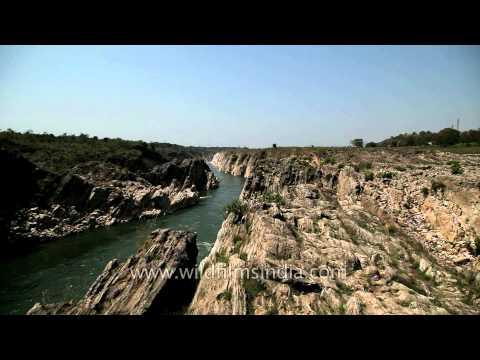 Narmada river flowing between the Marble Rocks, Jabalpur
