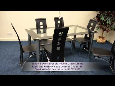 Julian Bowen Brescia 160cm Gl Dining Table And Black Faux Leather Chairs Set