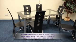 Julian Bowen Brescia 160cm Glass Dining Table And 6 Black Faux Leather Chairs Set