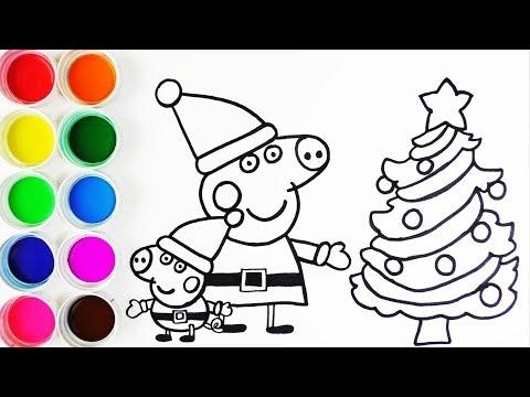 Cómo Dibujar Y Colorear A Peppa Pig Y A George En Navidad Learn