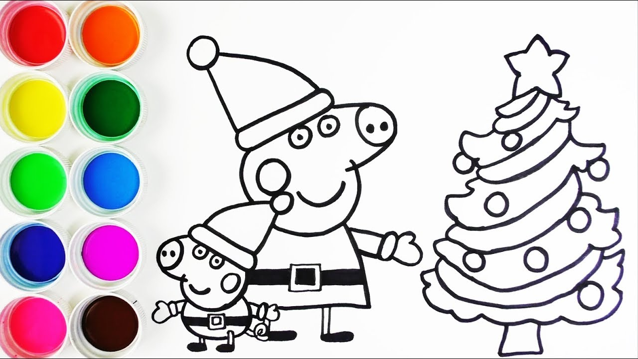 Cómo Dibujar Y Colorear A Peppa Pig Y A George En Navidad Learn Colors Funkeep