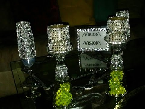 Diy Dollar Tree Wine Glasses and Candles