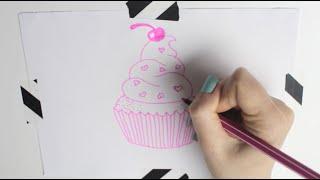 How to draw a cupcake | Cupcake malen | EASY & CUTE || Foxy Draws