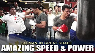 PACQUIAO SHOWS AMAZING SPEED AND POWER IN HIS TRAINING FOR HIS FIGHT WITH BRONER