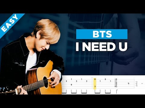 BTS - I NEED U guitar lesson, chords and tab