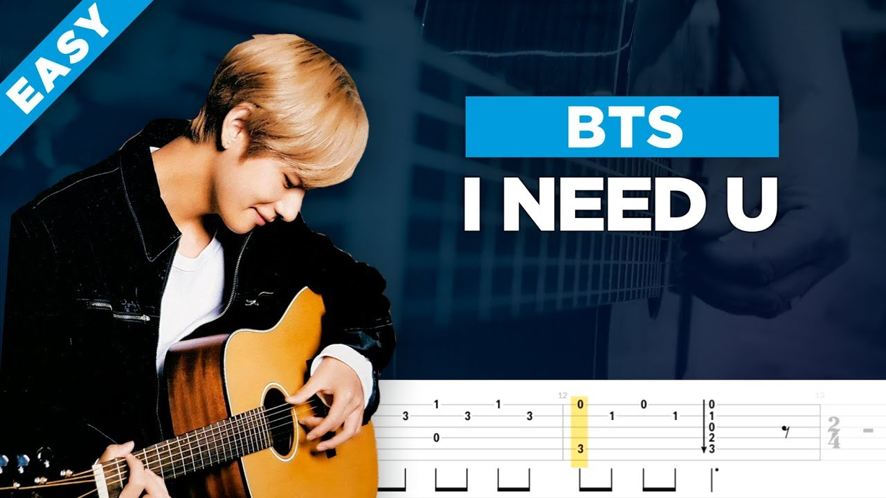 Bts I Need U Easy Guitar Cover Lesson With Tab Youtube
