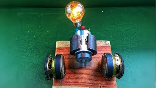 Mini free energy generator with light bulb using speaker magnet - Amazing science experiment project