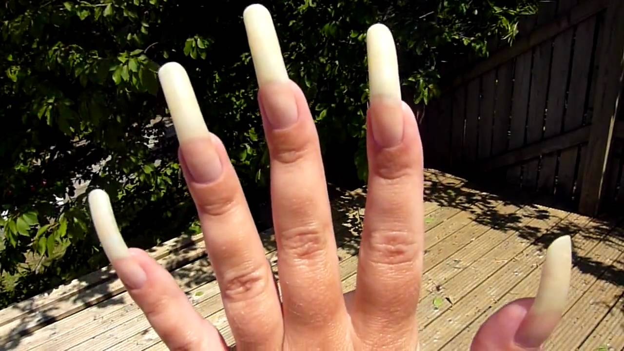 June Update On My Long Natural Nails. Bare - No Nail Polish - YouTube