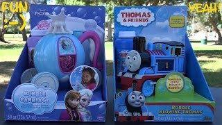 Thomas & Friends and Disney Frozen Bubble Maker Machine Unboxing and Playtime