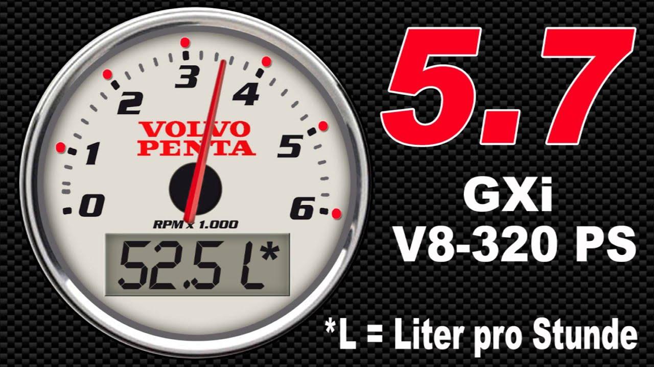 Volvo Penta 57 GXi V8320 PS Verbrauch pro Stunde  YouTube