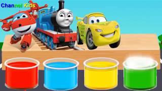 色シャワートーマストレインスーパーウイングズカーライトニングマックイーン   子供のための楽しい色を浴びる