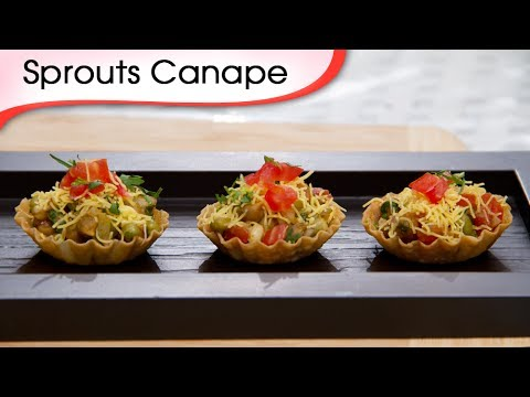 Sprout Canapes - Indian Homemade Vegetarian Sweet & Tangy Quick Bite Recipe By Ruchi Bharani