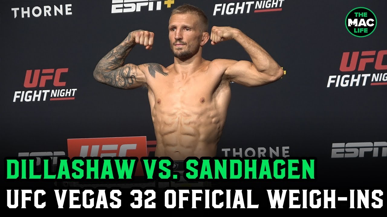 TJ Dillashaw looks shredded at official weigh-ins on return to UFC after EPO ban