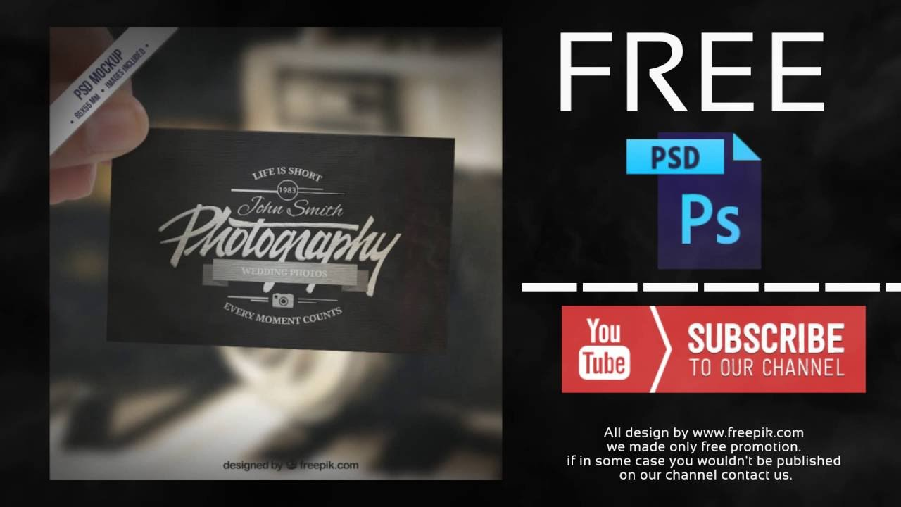 Business card mockup in retro style free psd youtube reheart Image collections