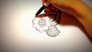 How to draw a simple but detailed Indian henna styled flower!