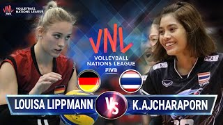 Ajcharaporn kongyot vs Louisa lippmann [ VNL 2018 ] Thailand vs Germany