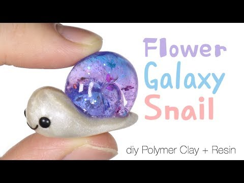 How to DIY Floral/Flower Galaxy Snail Polymer Clay/Resin Tutorial