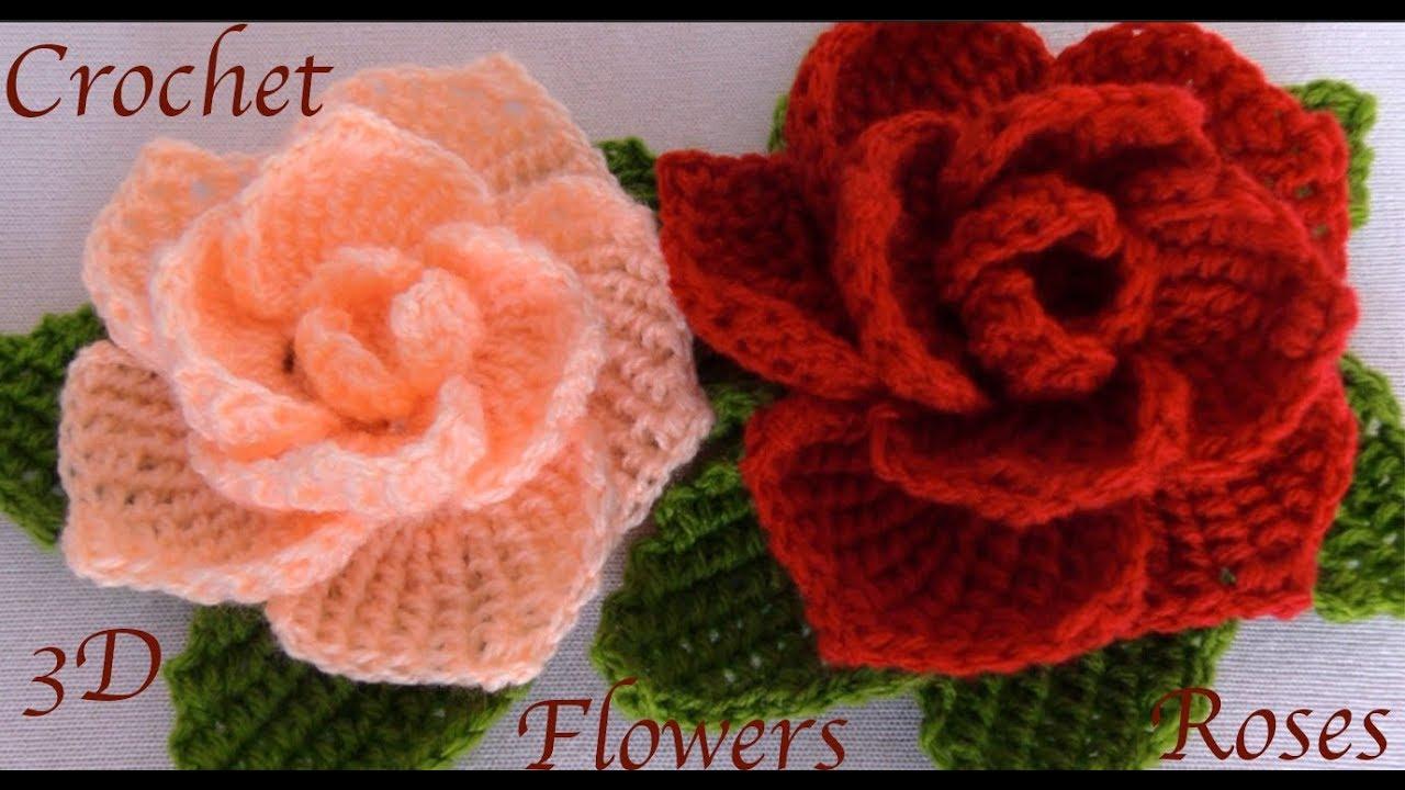 Como Hacer Flores Rosas 3d Con Hojas A Crochet Paso A Paso En Punto