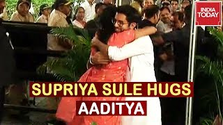 Supriya Sule Greets Ajit Pawar, Hugs Aaditya Thackeray In Appreciation | Live