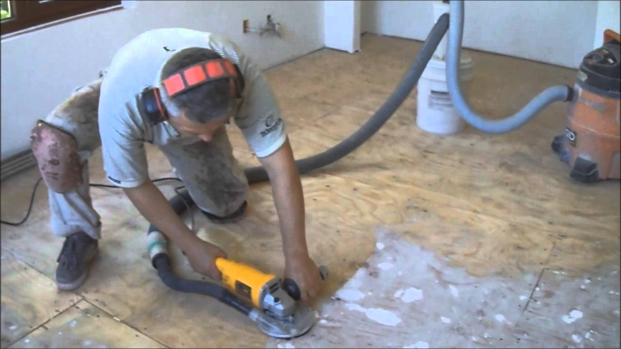 Plywood subfloor preparation for hardwood laminate floor for Preparing floor for vinyl