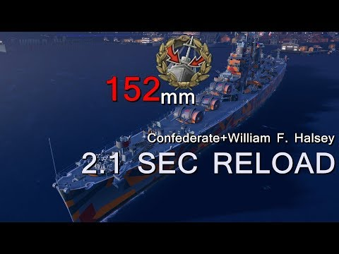 World of Warships - worcester [Confederate+William F. Halsey] 2.1 SEC RELOAD