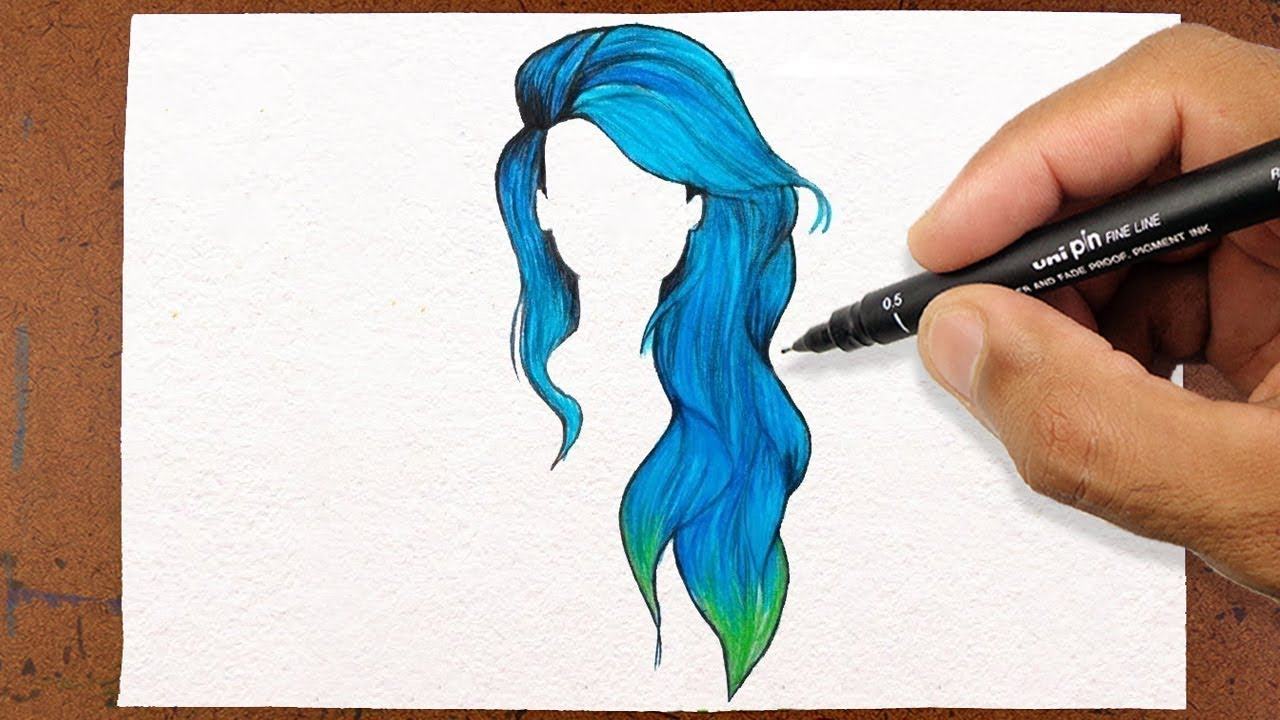 Como Desenhar Cabelo Azul Tumblr Colorindo E Desenhando