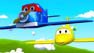 Carl Transform ve Uçak, Araba Şehri'nde | Arabalar & Kamyonlar inşaat çizgi filmi (çocuklar için)