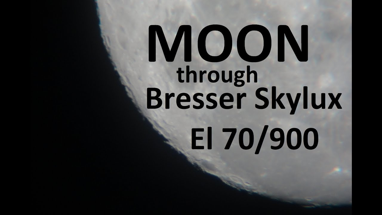 Moon through telescope bresser skylux el  youtube
