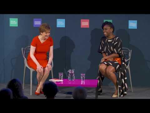 Chimamanda Ngozi Adichie with Nicola Sturgeon at the Edinburgh International Book Festival