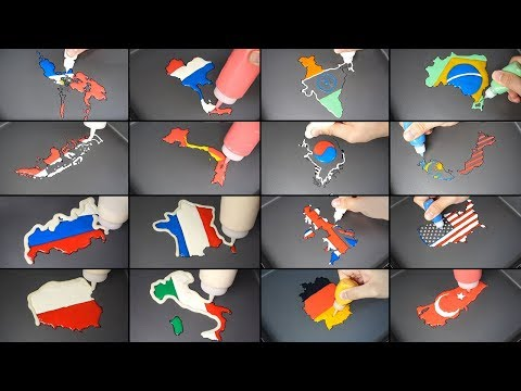 Best Country to visit YouTube - National Flag Map Pancake art