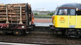 Colas Rail Freight 56105 coupling up timber wagons Newton Abbot 09 05 13