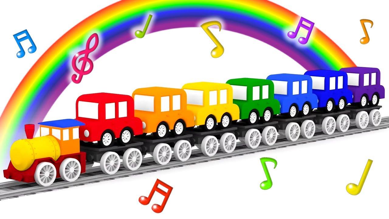 Quais as cores do arco-íris? Música educativa infantil em português. 4 carros coloridos