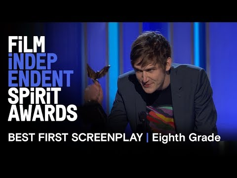 BO BURNHAM wins Best First Screenplay for EIGHTH GRADE at the 2019 Film Independent Spirit Awards!