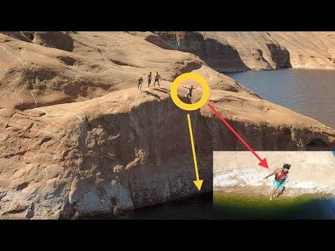 ☠️ MAN CHEATS DEATH CLIFF JUMPING AT LAKE POWELL - SUPER SKETCHY ⚠️