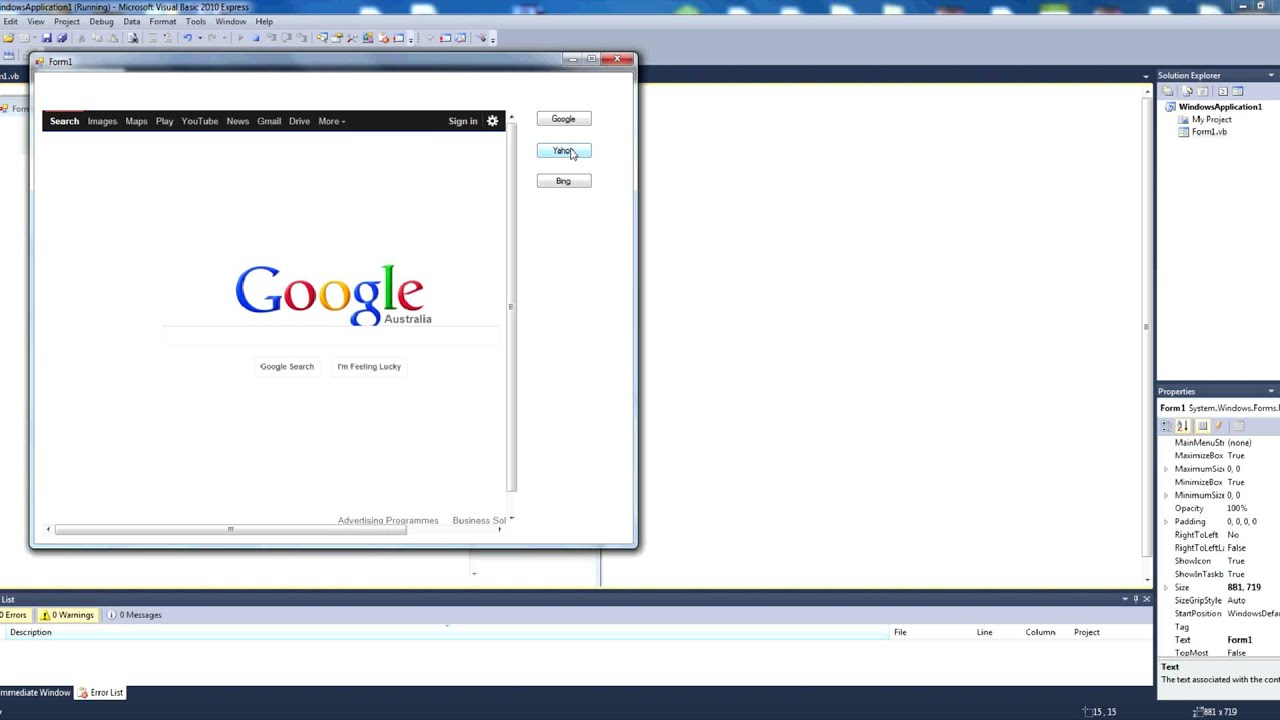 How to Navigate to a URL in the Web Browser Control Visual Basic 2010  Express