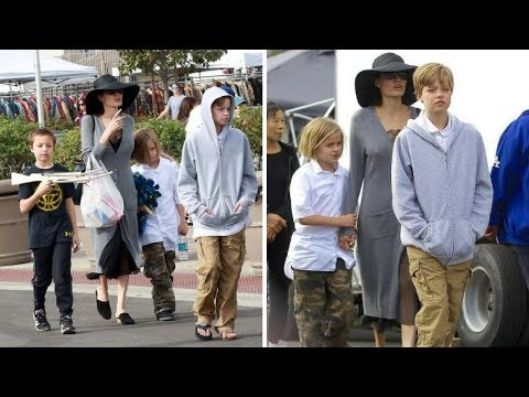 Angelina Jolie with Daughter Shiloh & Twins Knox and Vivienne at Pasadena Flea Market