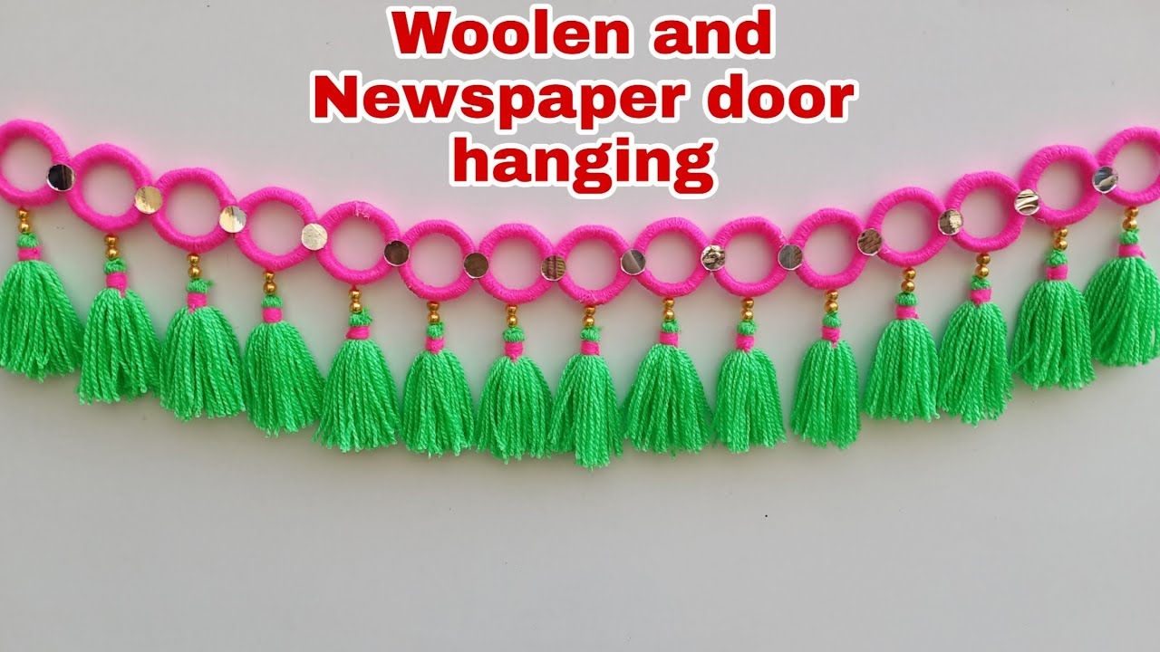 Woolen and Newspaper Door Hanging/New design woolen toran/Easy door hanging/Door decoration ideas/😍😘