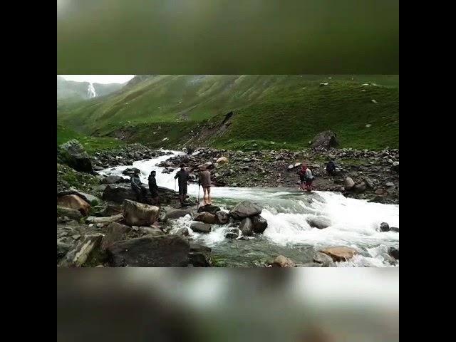 #takemetohimalayas Crossing Chandernahan Waterfall while trekking to Buran Pass