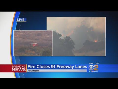 Brush Fire Causes Traffic Jam On 91, 241 Freeways