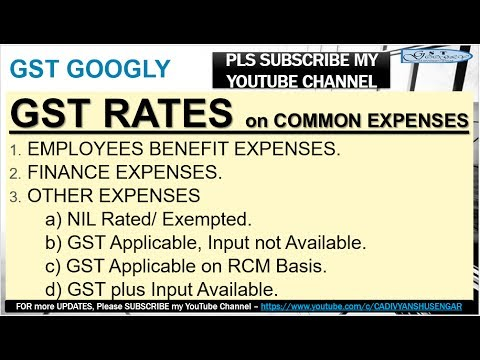 GST RATES on Common Expenses & Input Tax Availability plus RCM Provisions - in HINDI