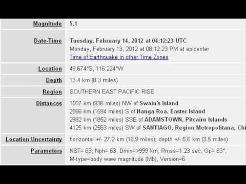 FEB 14 2012 5.1 EARTHQUAKE SOUTHERN EAST PACIFIC RISE