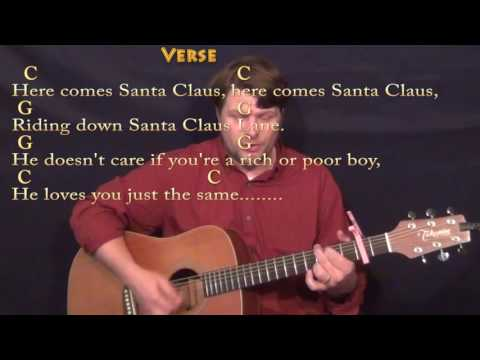 Here Comes Santa Claus (Elvis) Strum Guitar Cover Lesson with Chords/Lyrics - Capo 2nd