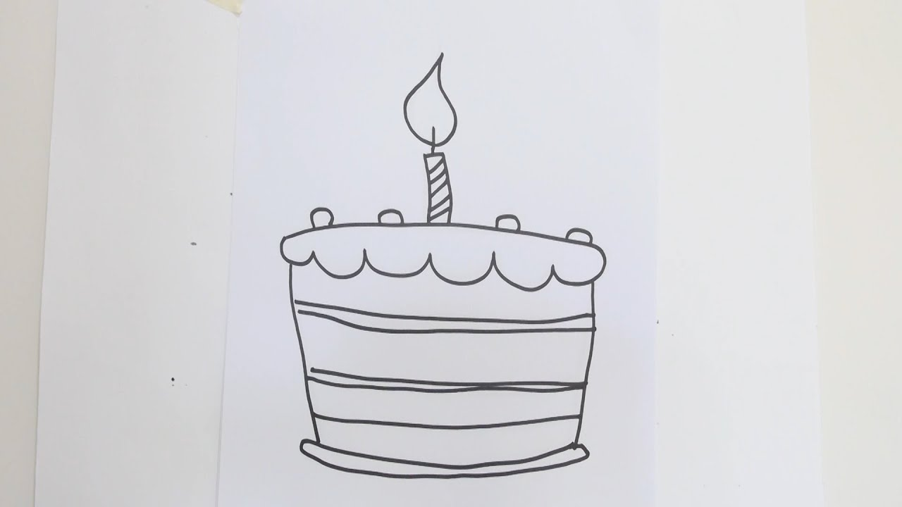 How To Draw Birthday Cake Youtube