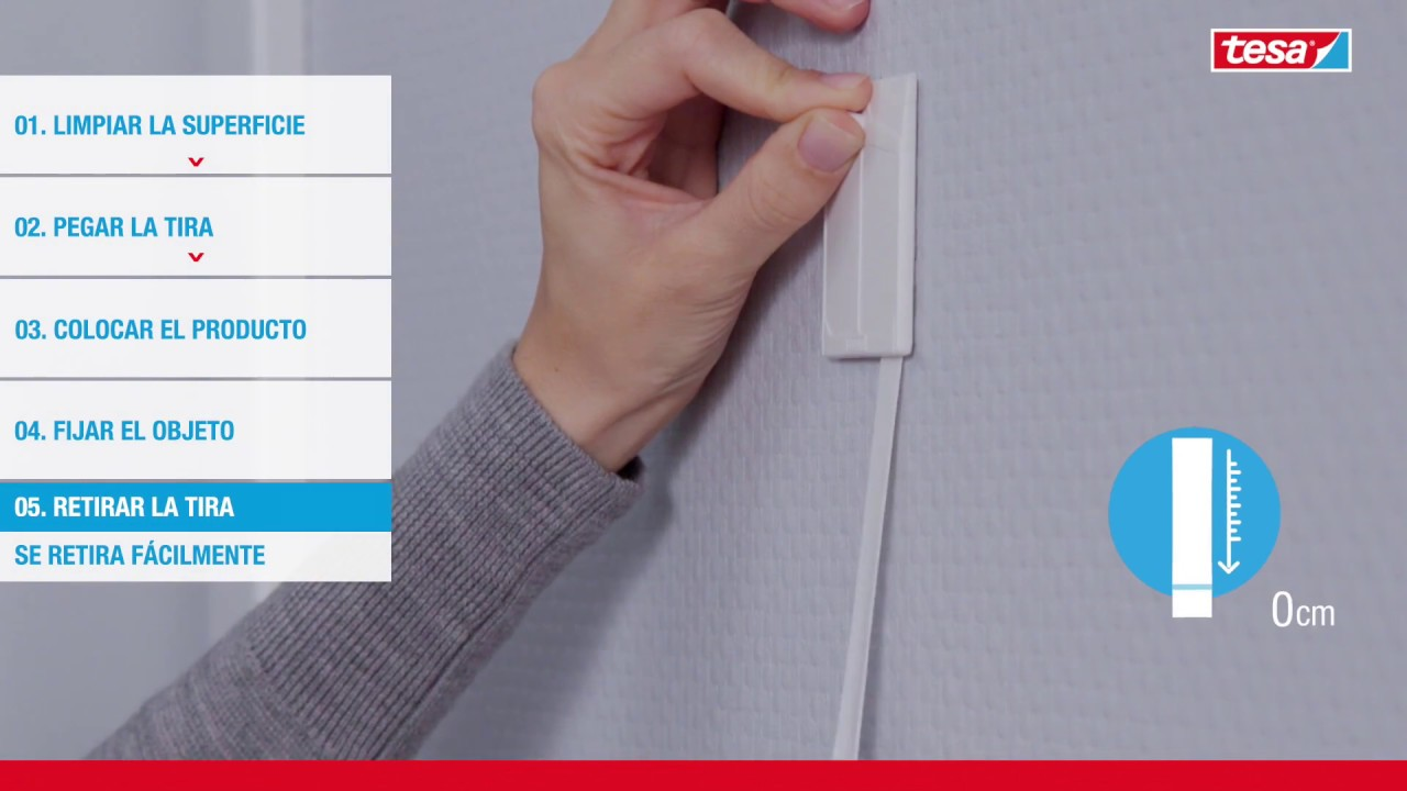 Clavo adhesivo hasta 2kg para pared pintada tesa youtube - Clavos para pared ...